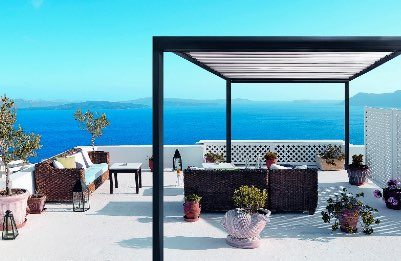 Pergola noir terrasse