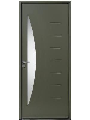 Porte d'entrée acier verte