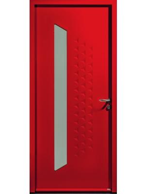 Porte d'entrée en acier avec vitrage