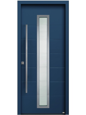 Porte d'entrée en aluminium bleu vitrage