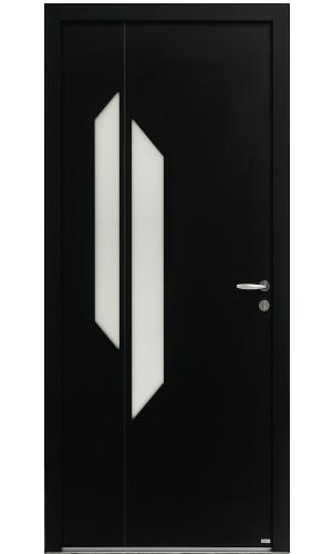 Porte d'entrée en aluminium noir semi-vitrée