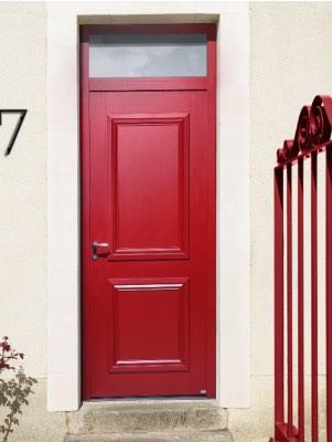 Porte d'entrée aluminium rouge