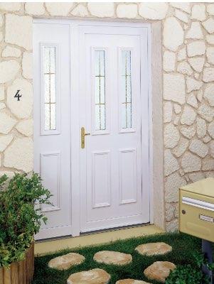 Porte d'entrée pvc blanche avec vitrage