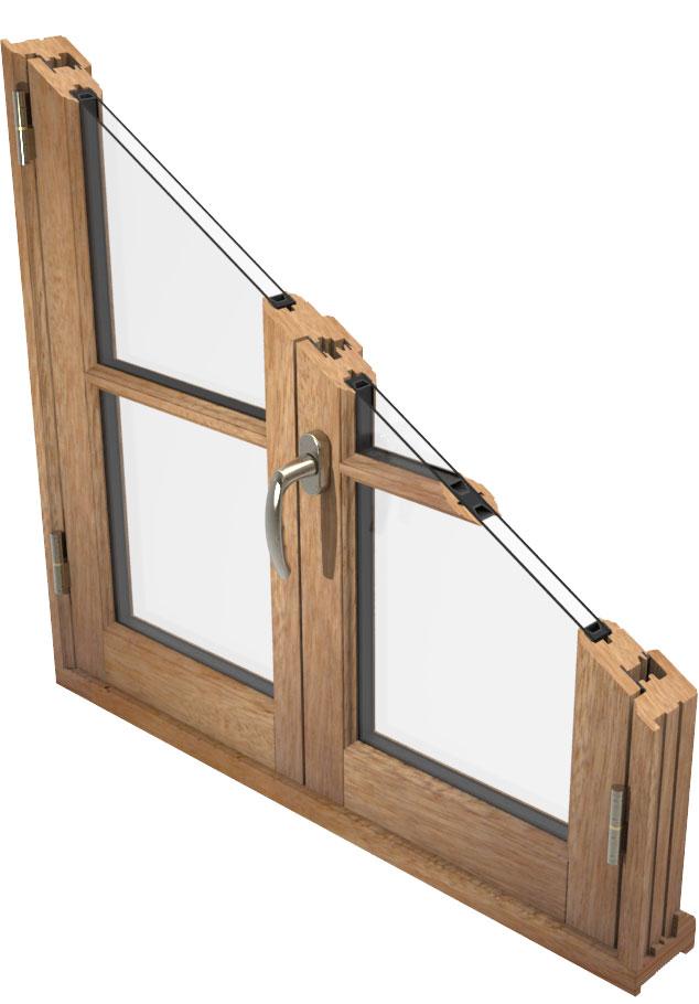 Coupe fenêtre en bois deux vantaux